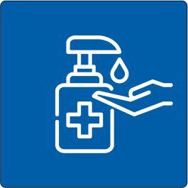"""Disinfect Hands Required"" sticker (Maxi-Loka Premium)"