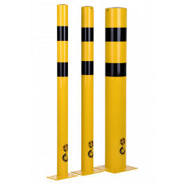 Steel collision post for floor mounting