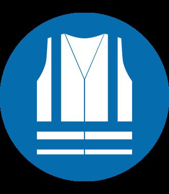"Anti-slip floor pictogram: ""Safety Vest Required"""