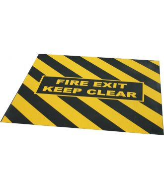 """FIRE EXIT KEEP CLEAR"" warning tape for emergency exit"