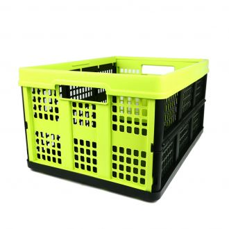 Collapsible crate - 46 litres - lime and black